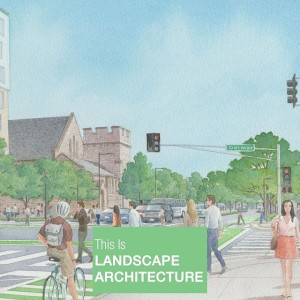 The grey skies today cause us to ask... why are skies always blue in renderings? This is from a multimodal study for Boulevard between and #ForestParkParkway. Choreographing multiple means of traffic is a challenge in urban environments and making space for everyone requires some thinking.