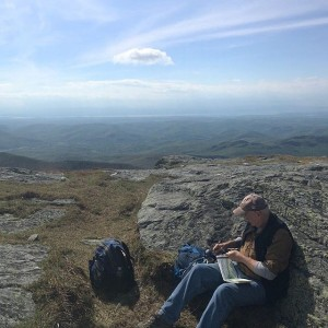 Well have become while he's out east visiting family. Today's journey found him in his #NaturalState, sketching atop #CamelHumpTrail.
