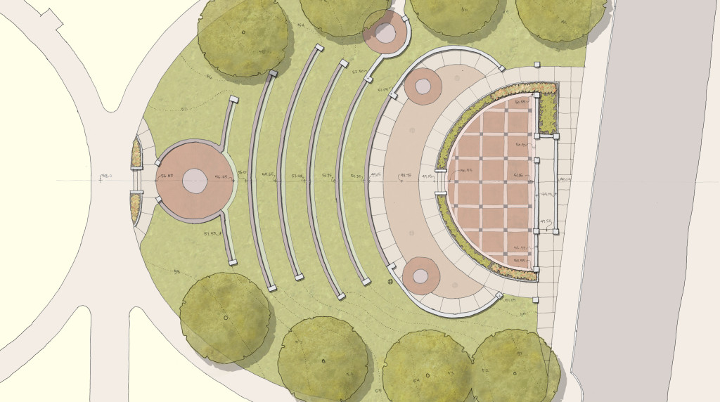 An upper and lower plaza address the elevated stage, while six levels of seat walls form an amphitheater. Accessibility and the preservation of existing memorial trees were primary concerns.