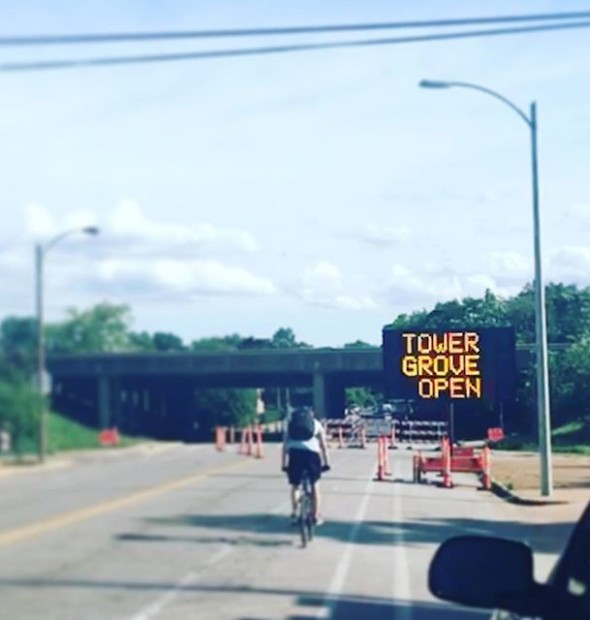 Aaaaannnnd, we're back! Thanks, #MODOT! Pretty quick and moderately painless. Come back, #cyclists! We have missed you! [ ]