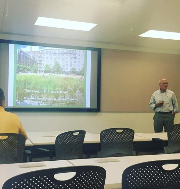 breaking it down at the Shaw Stormwater Series education sessions. Thanks for your massive body of knowledge, Rick. You speak for the trees (and the water, and the soils, and the perennials, and the forbs, and the air...) [ @mobotgarden @mobotgard @shawnaturereserve @1800_g_cadd @1800_g_cadd ]